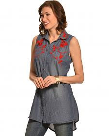 Pink Cattlelac Chambray Embroidered Sleeveless Tunic