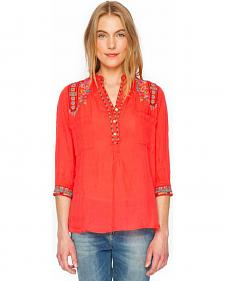 3J Workshop Malea Pleated Henley Blouse