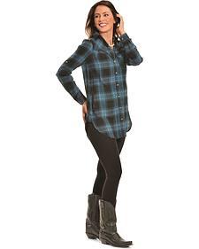 Tasha Polizzi Women's Black Plaid Highland Shirt