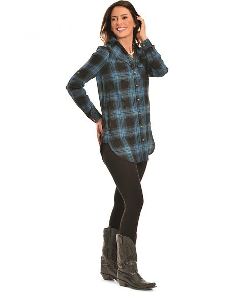 Tasha Polizzi Women's Black Plaid Highland Shirt