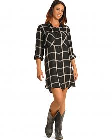 New Direction Women's Black Plaid Shirt Dress
