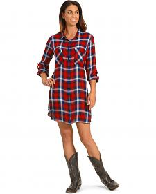 New Direction Women's Red and Blue Plaid Shirt Dress