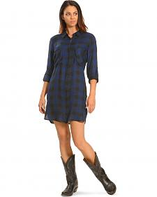 New Direction Women's Blue Plaid Shirt Dress
