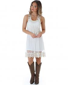 Wrangler Women's Cream Mesh Lace Dress