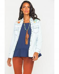 Ryan Michael Women's Bleach Indigo Embroidered Chambray Shirt