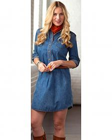 Ryan Michael Women's Whip-Stitch Denim Dress