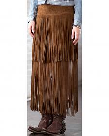 Ryan Michael Women's Fringe Leather Skirt