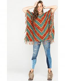 Ryan Michael Women's Serape Stripe Poncho