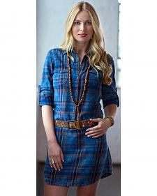 Ryan Michael Women's Indigo Plaid Shirt Dress