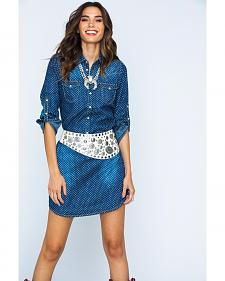 Ryan Michael Women's Indigo Star Print Shirt Dress