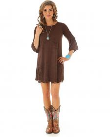 Wrangler Women's Faux Suede Laser Cut Dress