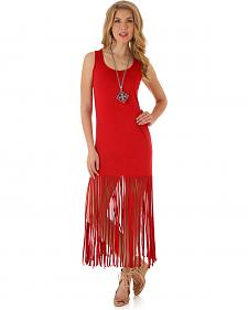 Wrangler Women's Sleeveless Faux Suede Fringe Dress