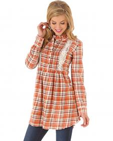 Wrangler Women's Crochet Plaid Tunic Dress