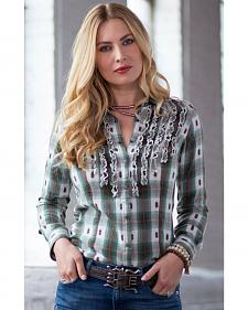 Ryan Michael Women's Ruffle Front Ombre Plaid Shirt