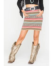 Ryan Michael Women's Stripe Jacquard Skirt