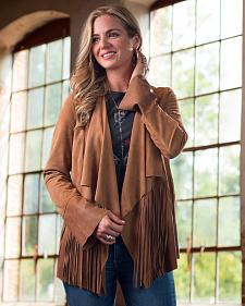 Ryan Michael Women's Drape Front Fringe Jacket