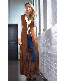 Ryan Michael Women's Long Leather Fringe Vest
