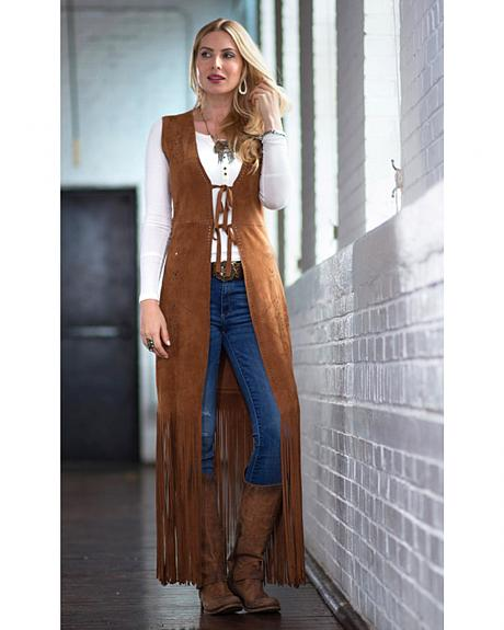 Ryan Michael Women's Long Leather Fringe Vest