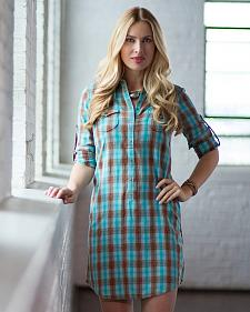 Ryan Michael Women's Ombre Plaid Shirt Dress