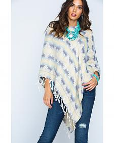 Ryan Michael Women's Southwest Jacquard Poncho