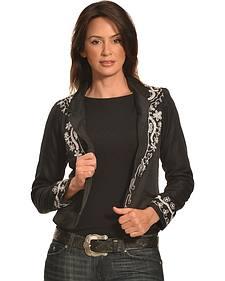 Pink Cattlelac Women's Silver Lurex Western Blazer