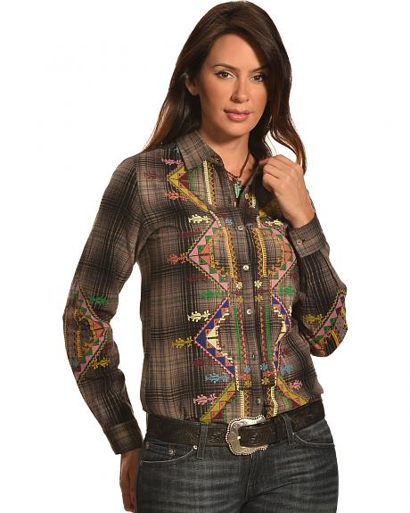 Pink Cattlelac Women's Plaid Embroidered Western Shirt