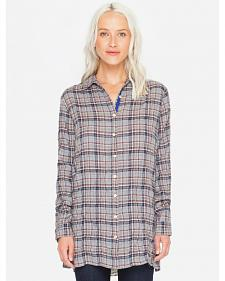 3J Workshop Women's Plaid Altivo Scarf Back Shirt