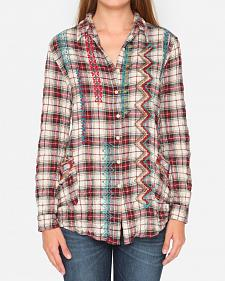3J Workshop Plaid Sissa Painters Smock Top
