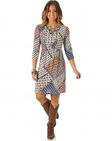 Wrangler Women's Printed Empire Waist Dress