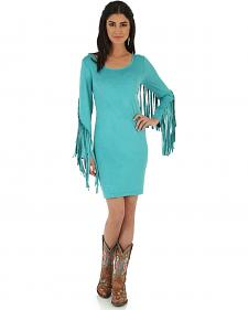 Wrangler Women's Turquoise Faux Suede Fringe Sleeve Dress