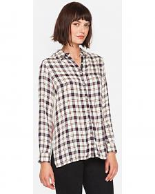 3J Workshop Plaid Taurine Smock Back Top
