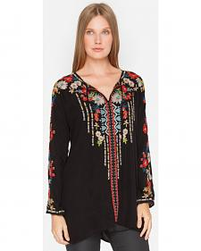 Johnny Was Women's Black Emily Tunic