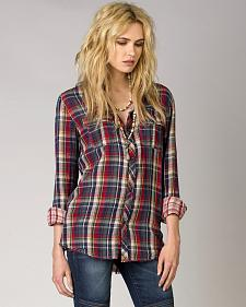 MM Vintage by Miss Me Women's Open Road Plaid Shirt