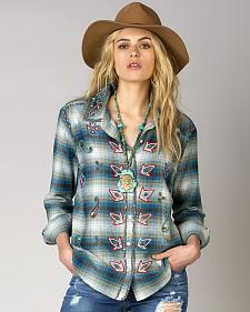 Miss Me Vintage Women's Beaded Plaid Shirt
