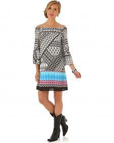 Wrangler Women's Multi Flutter Sleeve Print Dress