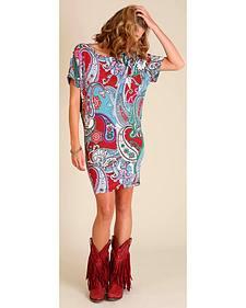Wrangler Women's Cranberry Print Dolman Wedge Dress