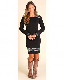 Wrangler Women's Black Long Sleeve Aztec Knit Dress