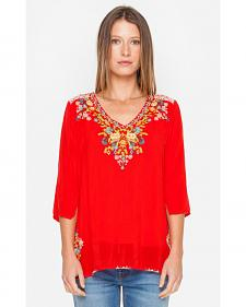 Johnny Was Women's Red Mary Ann Blouse