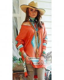 Tasha Polizzi Women's Coral Saltillo Pullover Shirt