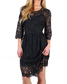 Shyanne Women's Black Sheer Lace Dress