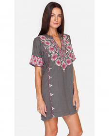 Johnny Was Women's Grey Paige Short Sleeve Easy Tunic