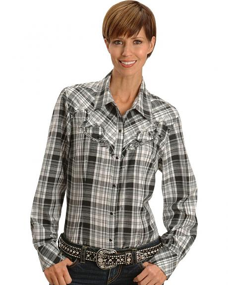 Lurex Black Plaid Western Shirt - Plus