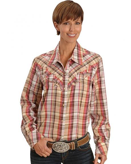 Lurex Brown Plaid Western Shirt - Plus