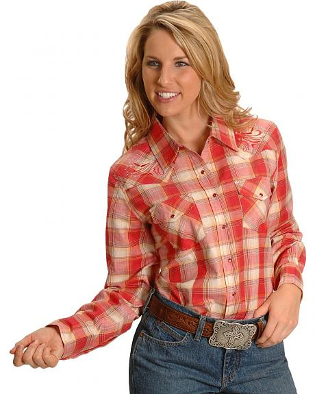 Exclusive Gibson Trading Co. Coral Plaid Embroidered Yoke Western Shirt - Plus