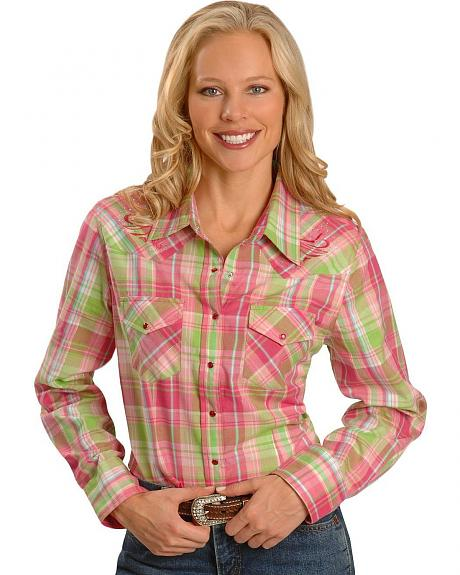 Exclusive Gibson Trading Plaid Embroidered Yoke Western Shirt - Plus