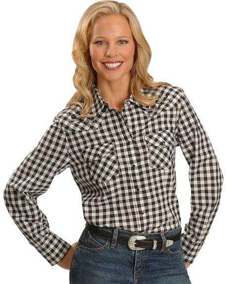 Exclusive Gibson Trading Co. Block Plaid Embroidered Western Shirt -Plus