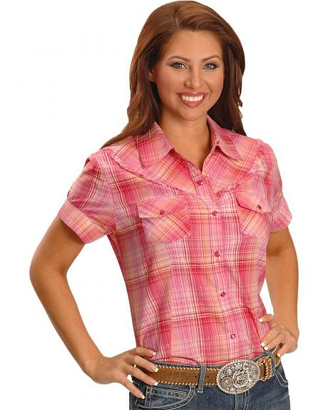 Exclusive Gibson Trading Co. Pink Plaid Ruffled Yoke Western Shirt - Plus