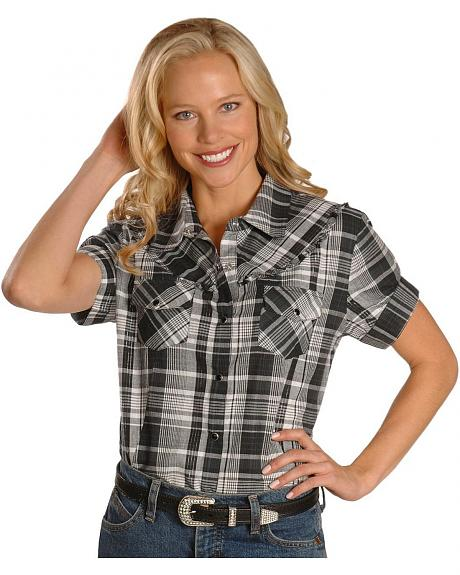 Exclusive Gibson Trading Co. Black & White Plaid Ruffled Western Shirt -Plus