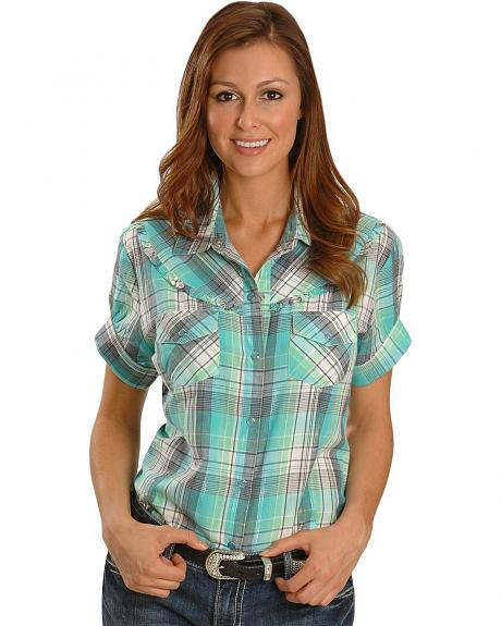Exclusive Gibson Trading Co. Teal Plaid Ruffled Yoke Western Shirt -Plus
