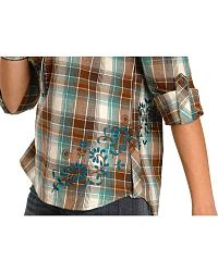 Red Ranch Fancy Embroidered Plaid Top - Plus at Sheplers